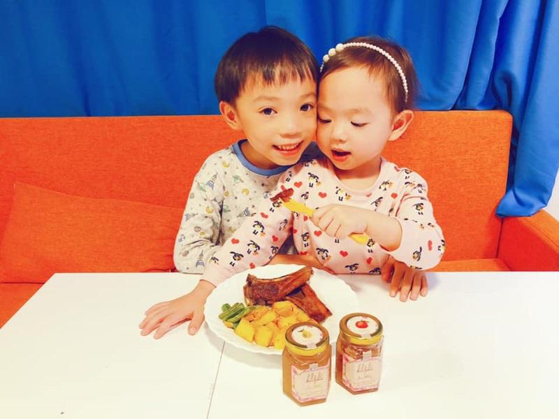 為食小兄妹是日晚餐♡蔬菜香煎羊架配手工燕窩果醬♡
